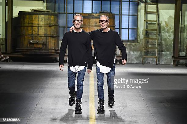 Designer Dean and Dan walk the runway at the Dsquared2 show during Milan Men's Fashion Week Fall/Winter 2017/18 on January 15 2017 in Milan Italy