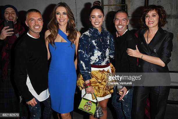 Designer Dean and Dan with Elizabeth Hurley Matilde Gioli and Valeria Golino at the Dsquared2 show during Milan Men's Fashion Week Fall/Winter...