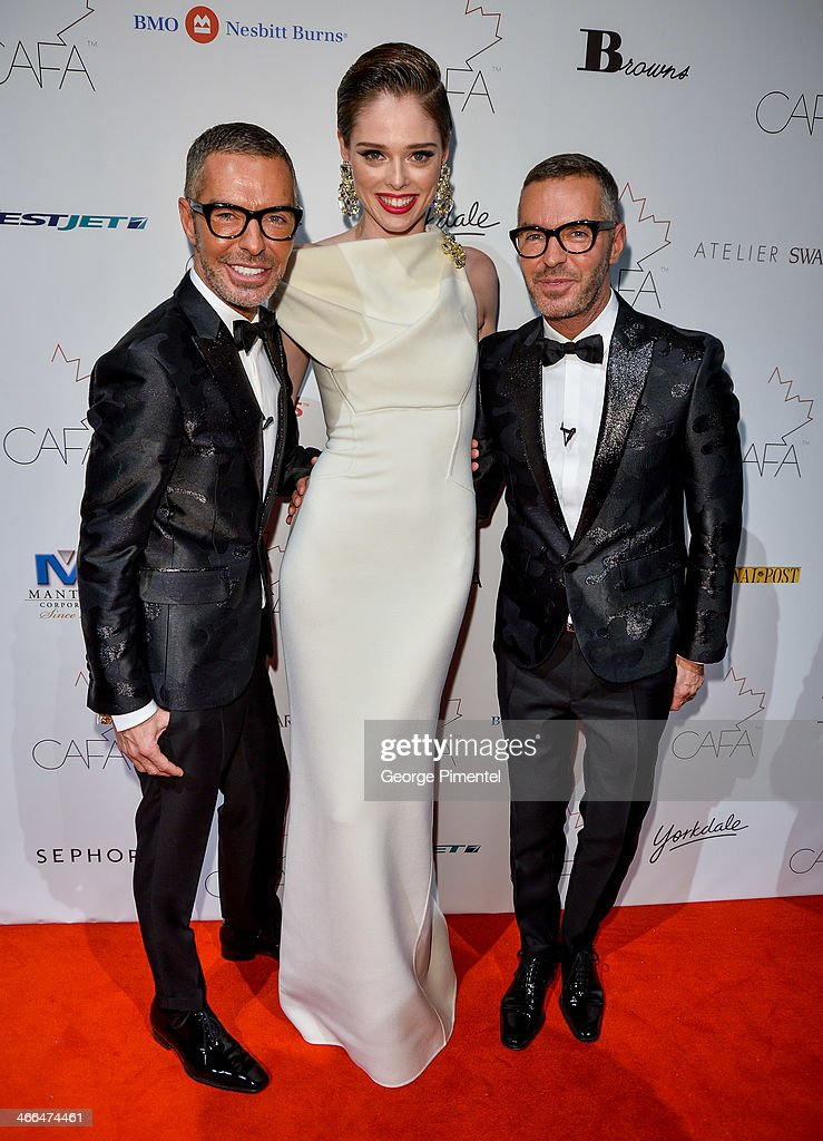 Designer Dean Caten, Model Coco Rocha and Designer Dan Caten arrive at the 1st Annual Canadian Arts and Fashion Awards at the Fairmont Royal York Hotel on February 1, 2014 in Toronto, Canada.
