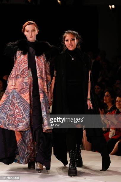 Designer Debra Lin walks the runway at the 114th annual Pratt Institute fashion show at Center 548 on April 25 2013 in New York City