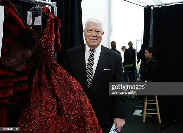 Designer Deniss Basso attends Dennis Basso collection during MercedesBenz Fashion Week Fall 2015 at The Theatre at Lincoln Center on February 16 2015...
