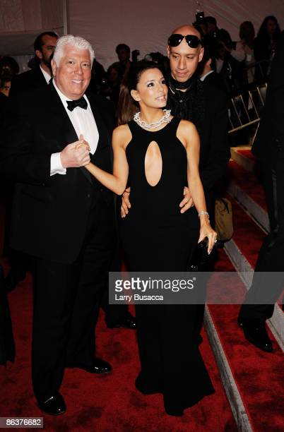 Designer Dennis Basso actress Eva Longoria Parker and stylist Robert Verdi attend The Model as Muse Embodying Fashion Costume Institute Gala at The...