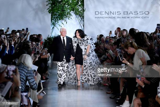 Designer Dennis Basso and Ashley Longshore walk the runway for Dennis Basso during New York Fashion Week The Shows at Gallery I at Spring Studios on...