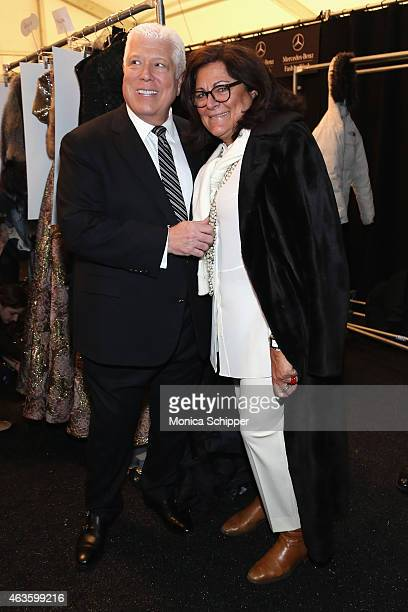 Designer Dennis Basso and Fern Mallis are seen backstage at the Dennis Basso fashion show during MercedesBenz Fashion Week Fall 2015 at The Theatre...