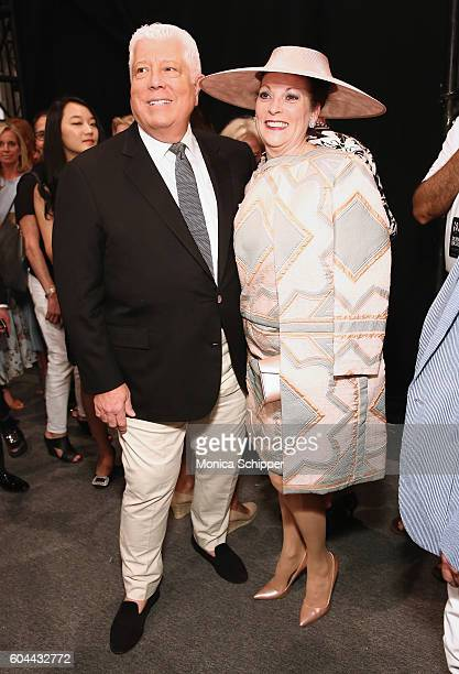 Designer Dennis Basso and guest pose for a photo backstage at the Dennis Basso fashion show during New York Fashion Week The Shows at The Arc...