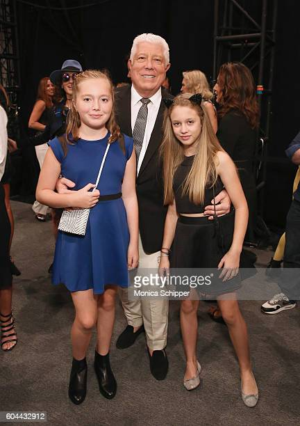 Designer Dennis Basso and guests pose for a photo backstage at the Dennis Basso fashion show during New York Fashion Week The Shows at The Arc...