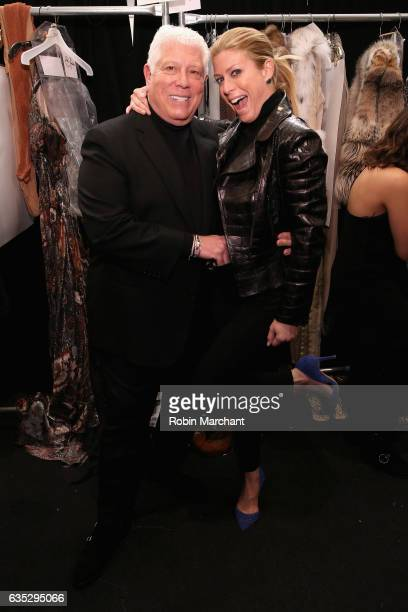 Designer Dennis Basso and Jill Martin pose backstage for the Dennis Basso collection during New York Fashion Week The Shows at Gallery 1 Skylight...