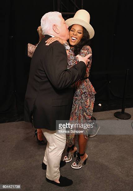 Designer Dennis Basso and June Ambrose pose for a photo backstage at the Dennis Basso fashion show during New York Fashion Week The Shows at The Arc...
