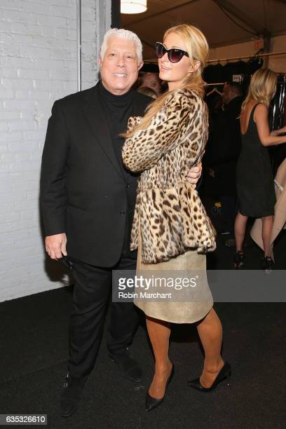 Designer Dennis Basso and Paris Hilton pose backstage for the Dennis Basso collection during New York Fashion Week The Shows at Gallery 1 Skylight...
