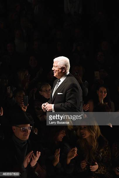 Designer Dennis Basso attends the Dennis Basso fashion show during MercedesBenz Fashion Week Fall 2015 at The Theatre at Lincoln Center on February...