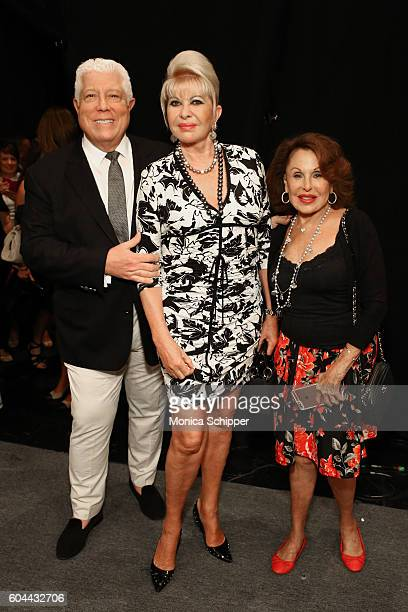 Designer Dennis Basso Ivana Trump and guest pose for a photo backstage at the Dennis Basso fashion show during New York Fashion Week The Shows at The...