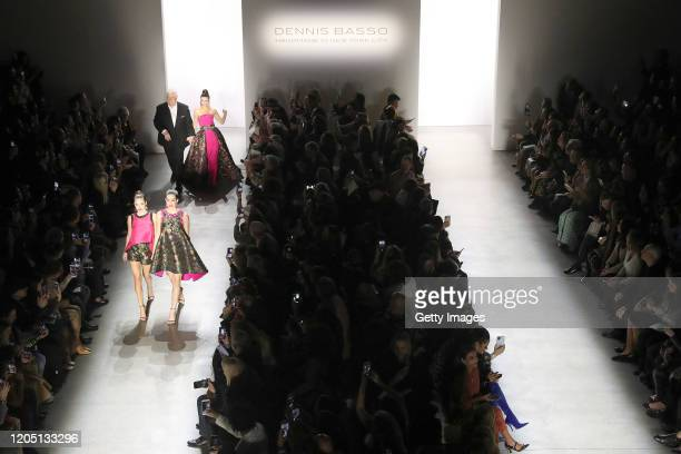 Designer Dennis Basso Lisa Rinna Delilah Belle Hamlin and Amelia Gray Hamlin An aerial view of the Dennis Basso fashion show during New York Fashion...
