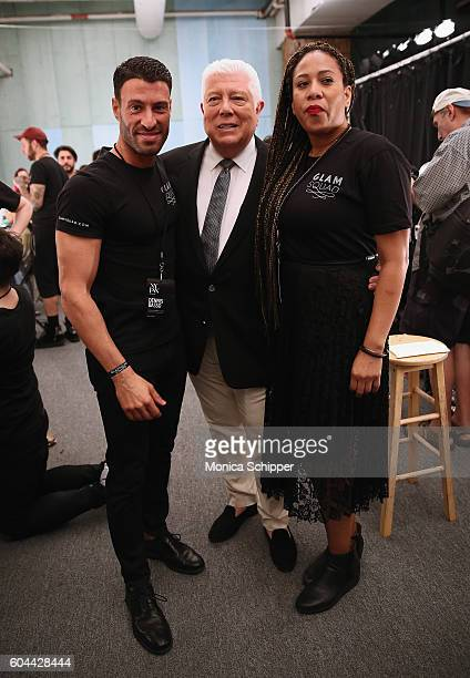 Designer Dennis Basso poses for a photo with the Glam Squad backstage at the Dennis Basso fashion show during New York Fashion Week The Shows at The...