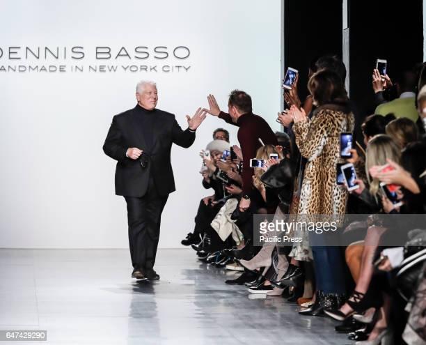 Designer Dennis Basso walks runway for Dennis Basso FW17 collection runway show during New York Fashion Week at Skylight Clarkson Sq Manhattan