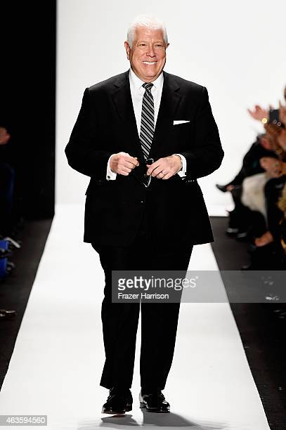 Designer Dennis Basso walks the runway at the Dennis Basso fashion show during MercedesBenz Fashion Week Fall 2015 at The Theatre at Lincoln Center...