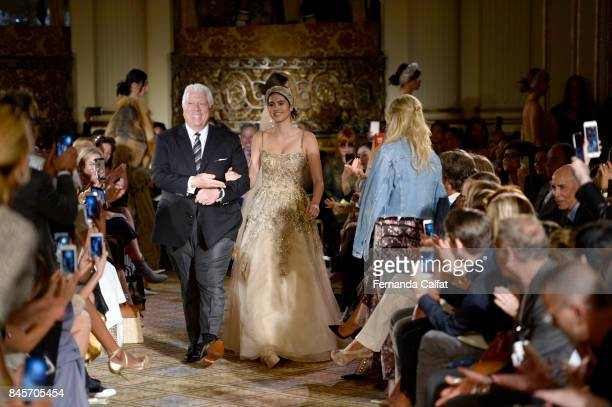 Designer Dennis Basso walks the runway for Dennis Basso fashion show during New York Fashion Week The Shows at The Plaza Hotel on September 11 2017...
