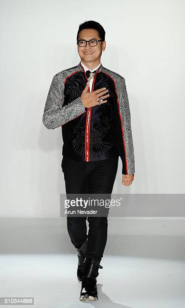 Designer Denny Wirawan walks the runway for Balijava during the PretAPorter runway at Affinia Hotel on February 14 2016 in New York City