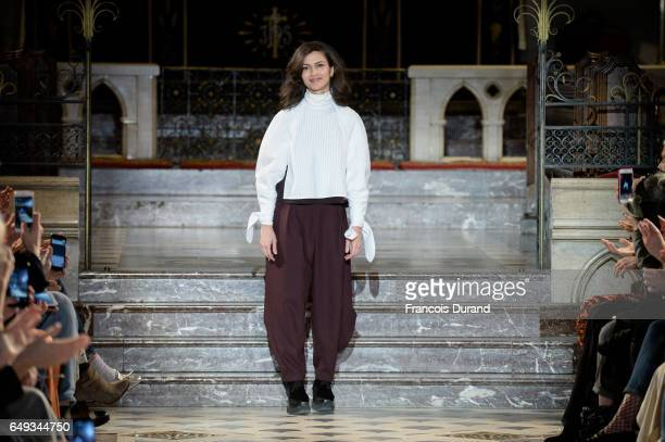 Designer Designer Nobieh Talaei walks the runway during the Nobi Talai show as part of the Paris Fashion Week Womenswear Fall/Winter 2017/2018 on...