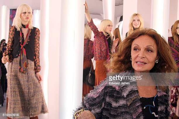 Designer Dian von Furstenberg poses during the Diane von Furstenberg fashion presentation during New York Fashion Week at 440 W 14th St on February...