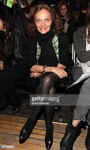 Designer Diana Von Furstenberg attends the Alexander Wang Fall 2009 fashion show during Mercedes-Benz Fashion Week at Roseland Ballroom on February...