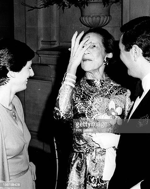 Designer Diana Vreeland attends Metropolitan Museum of Art Costume Exhibit 'American Woman With Style' on December 10 1975 at the Metrpolitan Museum...