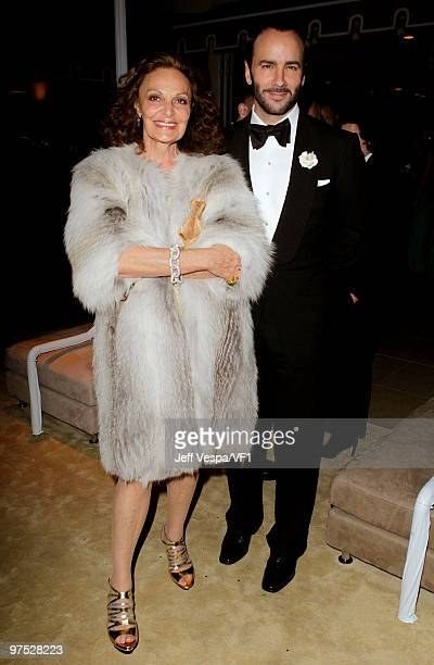 WEST HOLLYWOOD CA MARCH 07 *EXCLUSIVE* Designer Diane von Fürstenberg and designer/director Tom Ford attend the 2010 Vanity Fair Oscar Party hosted...