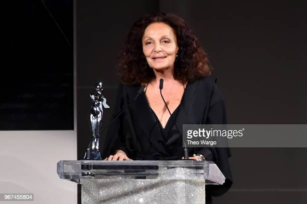 Designer Diane Von Furstenberg accepts the 2018 Swarovski Award for Positive Change onstage during the 2018 CFDA Fashion Awards at Brooklyn Museum on...