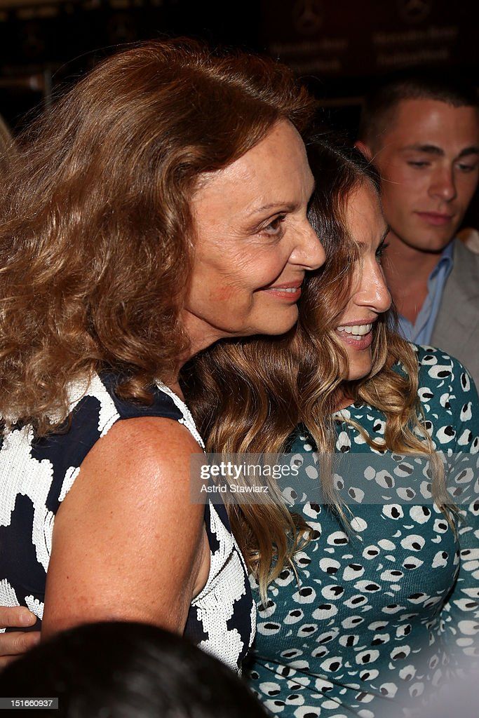 Designer Diane Von Furstenberg and actress Sarah Jessica Parker pose backstage at the Diane Von Furstenberg Spring 2013 fashion show during Mercedes-Benz Fashion Week at The Theatre at Lincoln Center on September 9, 2012 in New York City.
