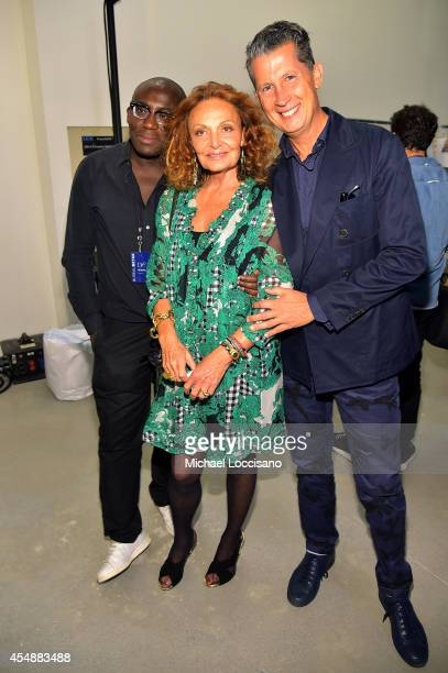 Designer Diane Von Furstenberg and Editor of W Magazine Stefano Tonchi backstage at the Diane Von Furstenberg fashion show during MercedesBenz...