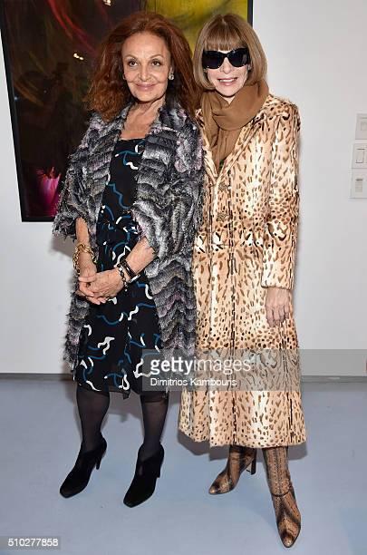 Designer Diane Von Furstenberg and Editor-in-chief of American Vogue Anna Wintour pose backstage during Diane Von Furstenberg Fall 2016 during New...