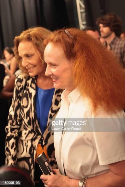 Designer Diane von Furstenberg and Grace Coddington pose backstage with BIOSILK at DVF MercedesBenz Fashion Week Spring 2014 at The Theatre at...