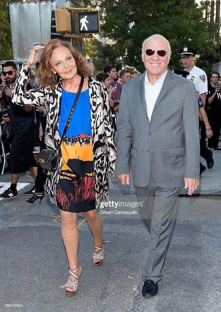 Designer Diane von Furstenberg and husband Barry Diller attend 2014 Mercedes-Benz Fashion Week during day 4 on September 8, 2013 in New York City.