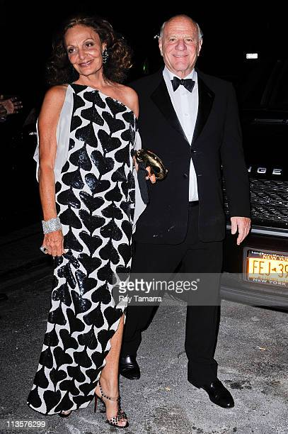 Designer Diane von Furstenberg and media executive Barry Diller enter the Crown Restaurant on May 2 2011 in New York City