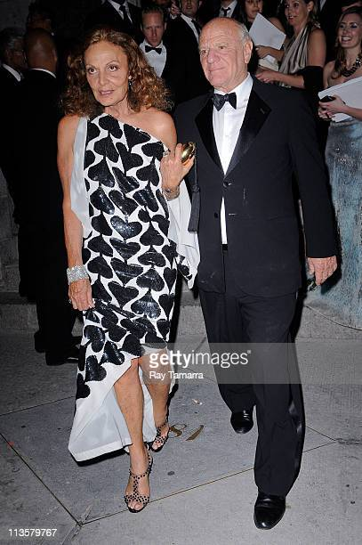 Designer Diane von Furstenberg and media executive Barry Diller leave the Crown Restaurant on May 2, 2011 in New York City.