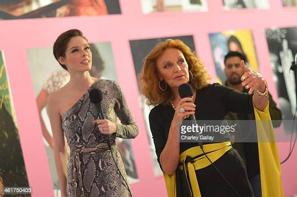 Designer Diane von Furstenberg and model Coca Rocha wearing Diane Von Furstenberg attend Diane Von Furstenberg's Journey of A Dress Exhibition...