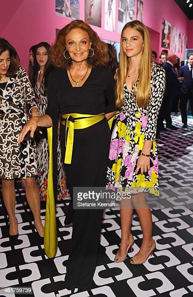 Designer Diane von Furstenberg and Talita von Furstenberg, wearing Diane von Furstenberg, attend Diane Von Furstenberg's Journey of A Dress...