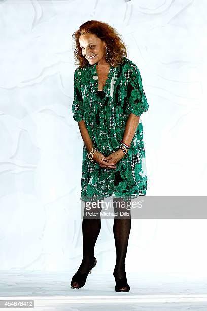 Designer Diane von Furstenberg appears on the runway at the Diane Von Furstenberg fashion show during MercedesBenz Fashion Week Spring 2015 at Spring...