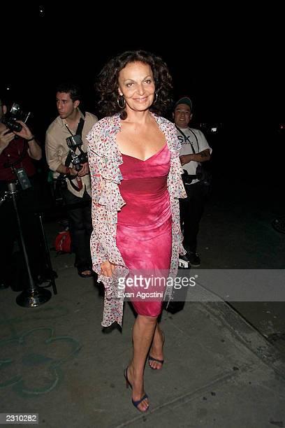 Designer Diane von Furstenberg arrives at a party to celebrate designer Matthew Williamson's Fall/Winter 2001 collection sponsored by Vogue at...