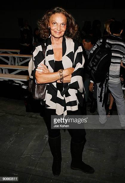 Designer Diane von Furstenberg attends Alexander Wang Spring 2010 during Mercedes-Benz Fashion Week at Pier 94 on September 12, 2009 in New York City.