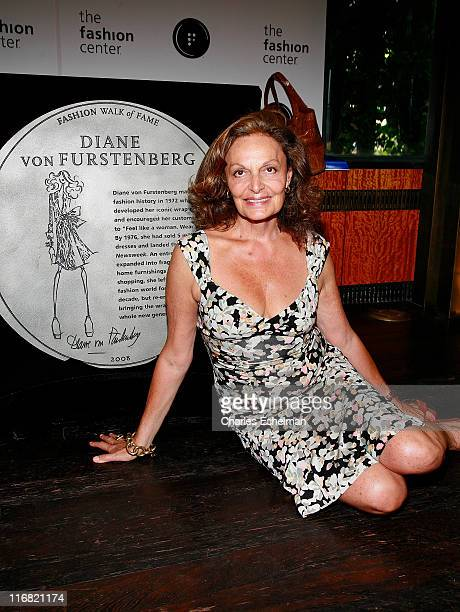 Designer Diane von Furstenberg attends Diane von Furstenberg's and Liz Claiborne's induction into Seventh Avenue's Fashion Walk of Fame at the Bryant...