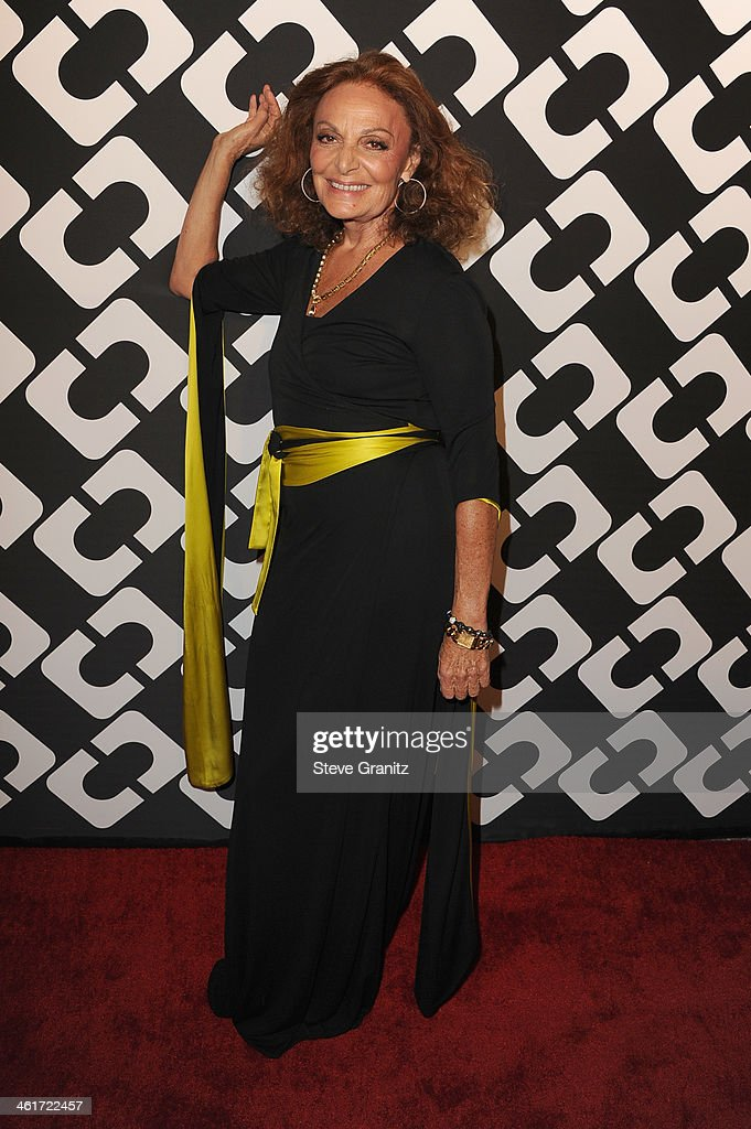 Designer Diane Von Furstenberg attends Diane Von Furstenberg's 'Journey Of A Dress' Premiere Opening Party at Wilshire May Company Building on January 10, 2014 in Los Angeles, California.