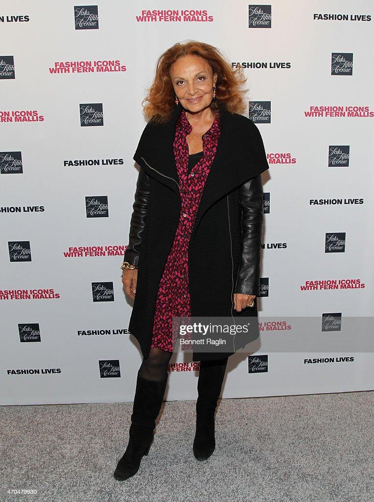Designer Diane Von Furstenberg attends Fashion Lives Book Launch at Saks Fifth Avenue on April 20, 2015 in New York City.