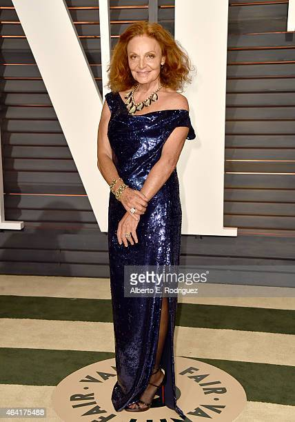 Designer Diane von Furstenberg attends the 2015 Vanity Fair Oscar Party hosted by Graydon Carter at Wallis Annenberg Center for the Performing Arts...