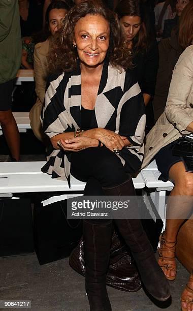 Designer Diane Von Furstenberg attends the Alexander Wang Spring 2010 Fashion Show at Pier 94 on September 12, 2009 in in New York City.