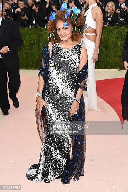 Designer Diane von Furstenberg attends the 'Manus x Machina Fashion In An Age Of Technology' Costume Institute Gala at Metropolitan Museum of Art on...