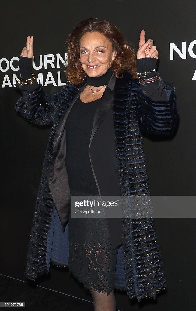 Designer Diane von Furstenberg attends the 'Nocturnal Animals' New York premiere at The Paris Theatre on November 17, 2016 in New York City.