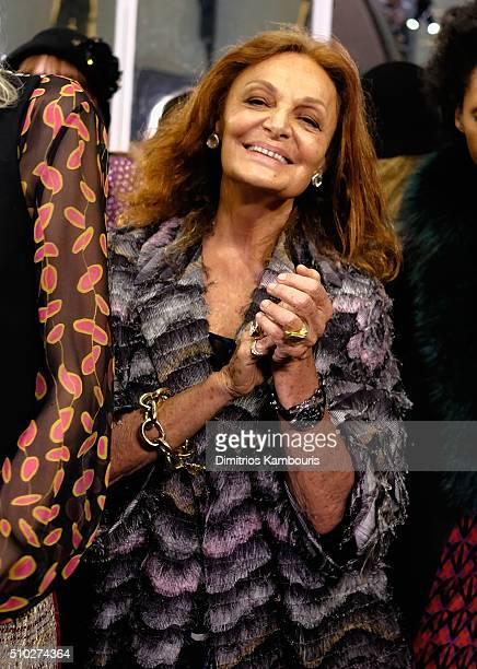 Designer Diane Von Furstenberg celebrates backstage during Diane Von Furstenberg Fall 2016 during New York Fashion Week on February 14, 2016 in New...