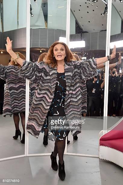 Designer Diane Von Furstenberg celebrates backstage during Diane Von Furstenberg Fall 2016 during New York Fashion Week on February 14 2016 in New...