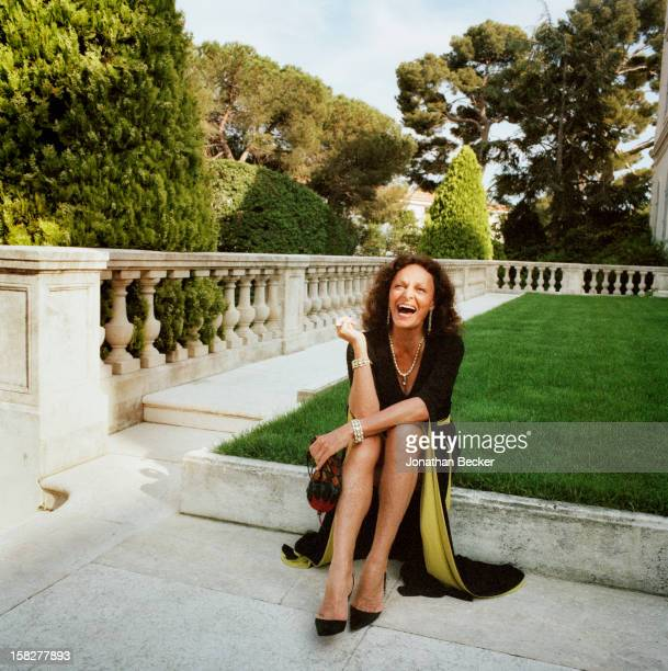 Designer Diane von Furstenberg is photographed for Vanity Fair Magazine on May 18 2002 at the Hotel du CapEdenRoc in Cannes France PUBLISHED IN...