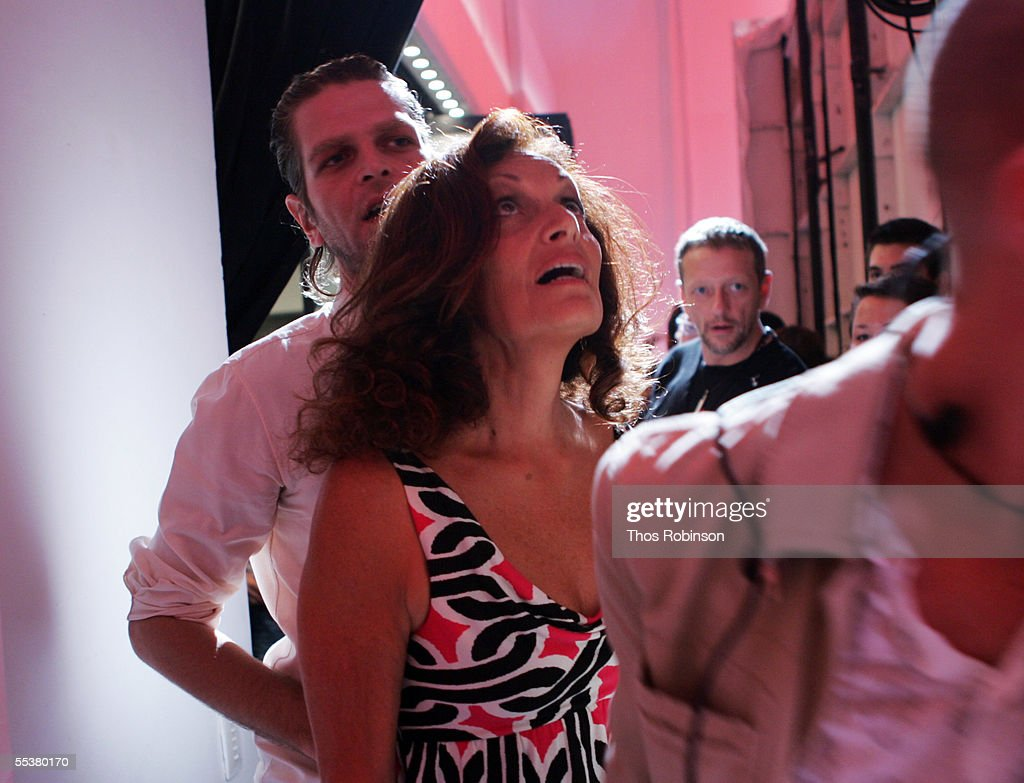 Designer Diane Von Furstenberg looks up after a light rig fell at hit people watching the Diane Von Furstenberg Spring 2006 fashion show during Olympus Fashion Week at Bryant Park September 11, 2005 in New York City.